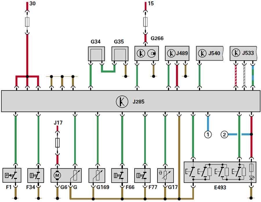 Е493 Клавиша управления комбинации приборов F1 Датчик сигнализатора пониженного давления масла F34 Датчик...